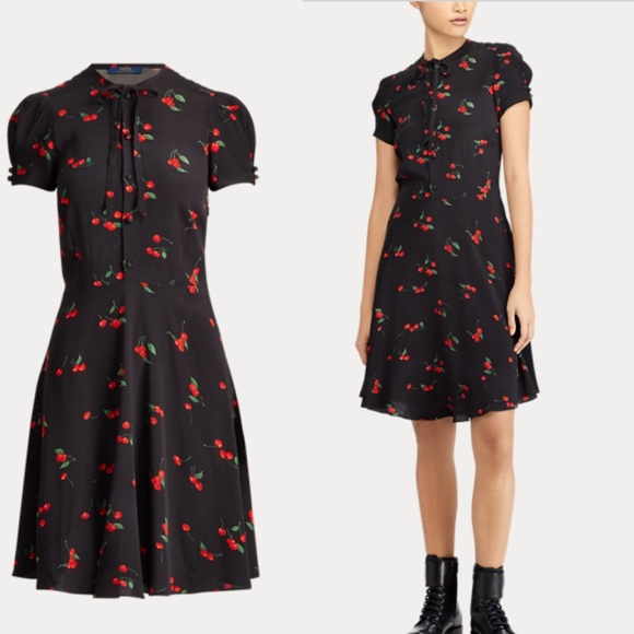 9837687486b Polo Ralph Lauren Cherry-Print Crepe Dress